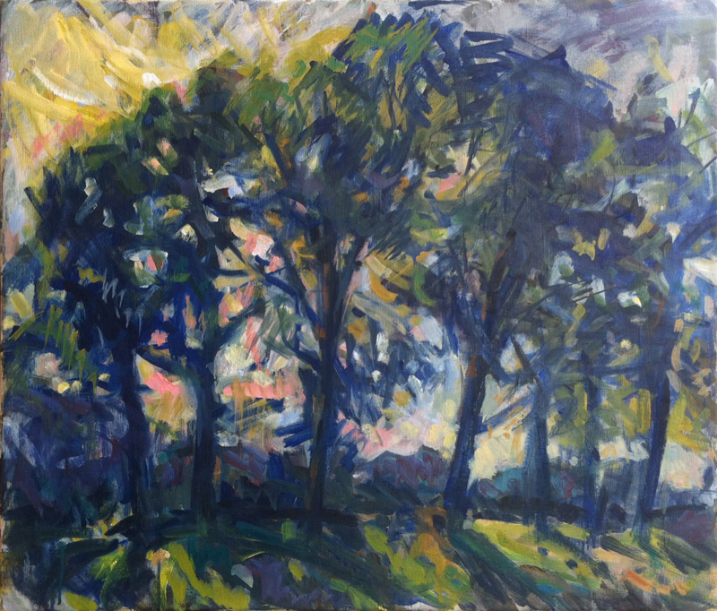 Krys Robertson: Ash trees in backlight. 2013-2018. Oil on canvas. 60 x 70 cm.