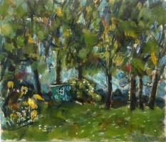 Krys Robertson: Hen House under Trees, oil on gesso paper