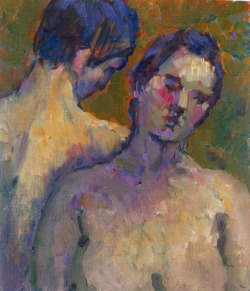 Krys Robertson: Couple. Oil on paper. Large postcard size