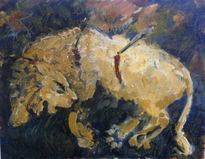 Injured Lion II. Oil on gesso paper, roughly A5 sized. 2015. (sold)