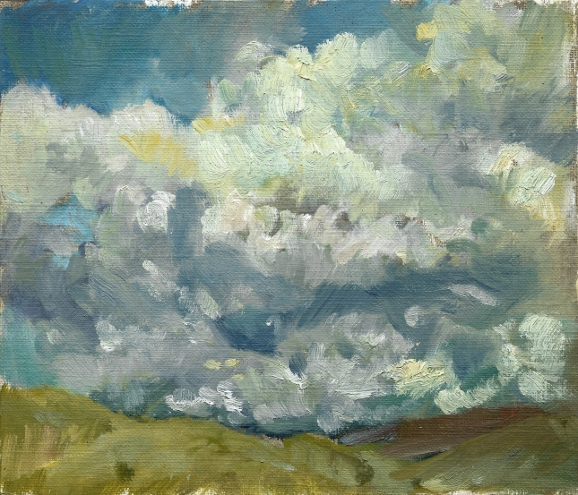 Krys Robertson: Clouds over Hills. Oil on paper, large postcard size
