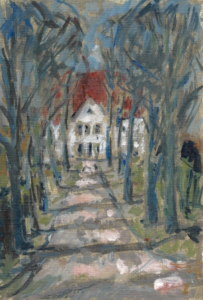Krys Robertson: Gutshaus Vorbeck, Oil on gesso paper