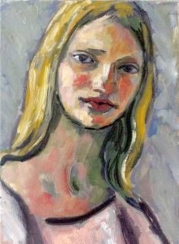 Krys Robertson: Girl with Wheat Coloured Hair, Oil on Canvas, 2016 Portrait of a young girl, 3rd session, abstraction