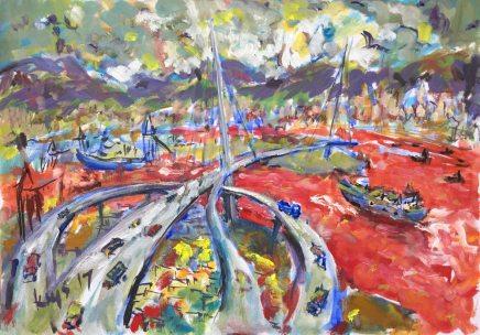 Krys Robertson: Kleine Hong Kong Hafenlandschaft in Rot. Öl auf Papier, A3, 2017