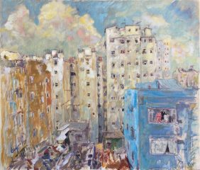 Krys Robertson: Hong Kong, View from Jay's Window, Prince Edward, oil on canvas, 2017 (SOLD)