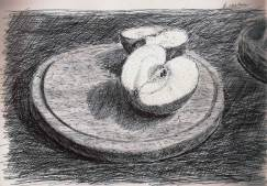 Apple on Chopping Board. 2011 Black ballpoint pen on cartridge paper. 29.5 x 21 cm