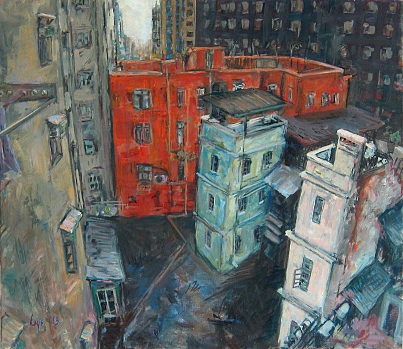 KRYS ROBERTSON: Jay's Studio Courtyard (Prince Edward, Hong Kong). Oil on canvas. 75.5 x 65.5 cm. 2013 (SOLD)
