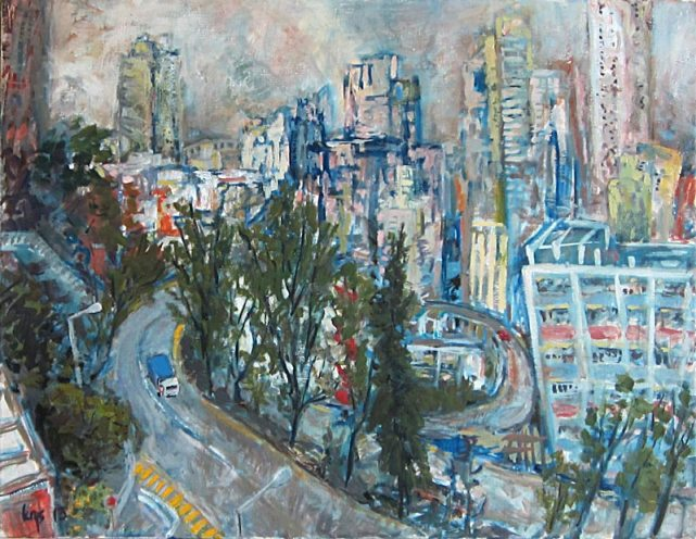 KRYS ROBERTSON: Kennedy Town Flyover. Oil on canvas. 65.5 x 50.5 cm 2013