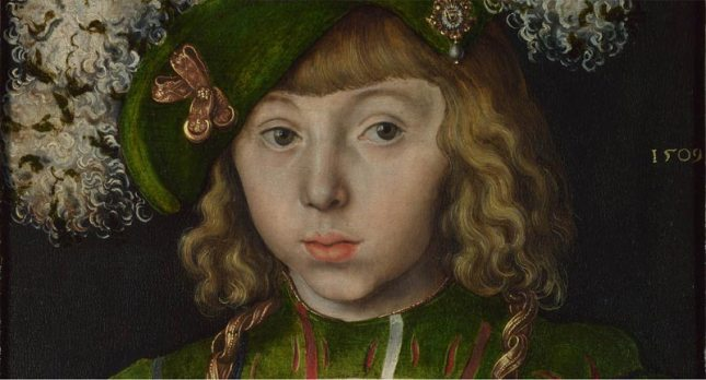 Lucas Cranach the Elder: Portrait of Johann Friedrich the Magnanimous from Diptych: Two Electors of Saxony. 1509 (Detail), see below picture for source and size