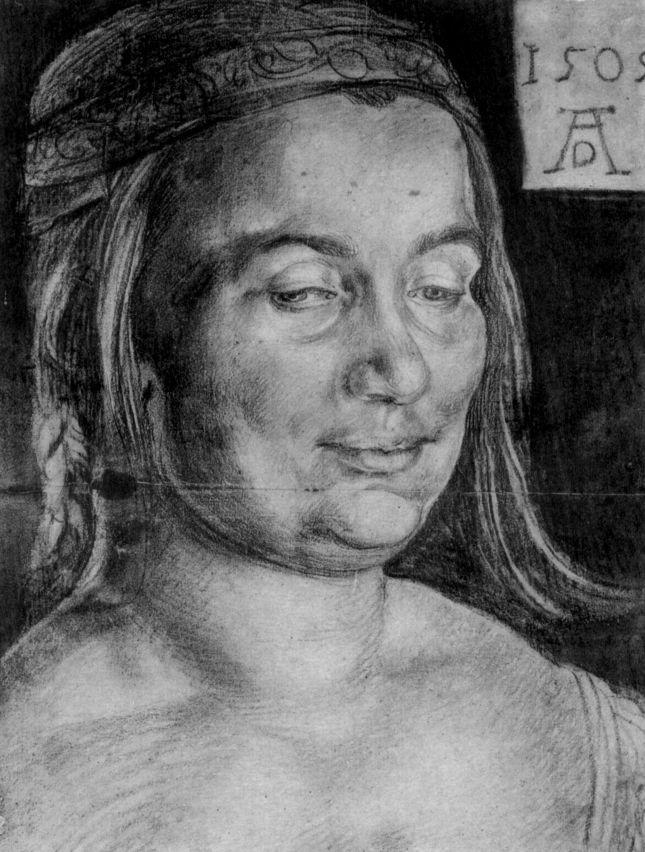 Albrecht Dürer: Porträt einer Windischen Bäuerin.1505. 35 × 26.6 cm. Kreide, Hintergrund nachträglich mit dunkel olivgrüner Wasserfarbe, auf Papier, etwas beschnitten. Aufbewahrungsort:Rotterdam. Museum Boymans-van Beuningen.