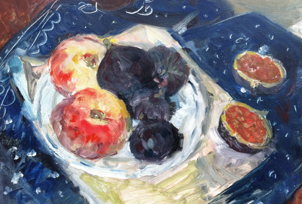 Krys Robertson: Peaches and Figues on Blue Tablecloth. Oil on paper. 21.5 H x 31.5 W, 2013