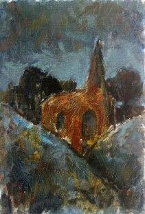 Krys Robertson. Church. Oil on prepared paper. 2015. Postcard sized.