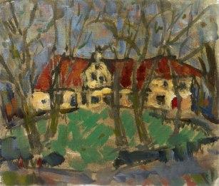 Krys Robertson: Old Manison (Gutshaus Carlshoehe). Oil on prepared paper. 2015. Bigger postcard size. 17.5 x 15 cm