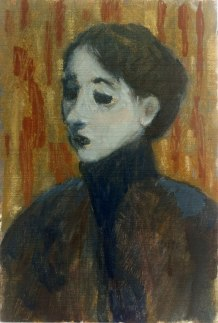 Krys Robertson: Woman in dark coat, 2015. postcard sized