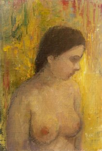 Krys Robertson. Half nude on yellow. Oil on prepared paper. 2015. Postcard sized.