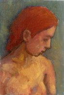 Krys Robertson. Woman with red hair, bust. Oil on prepared paper. 2015. Postcard sized.