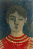 Krys Robertson. Youth, one eye closed, with red striped jumper. 2015. Oil on prepared paper. Postcard sized.