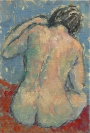 Nude on blue and red. Oil on gesso paper, ca A5