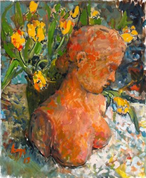 Krys Robertson: Terracotta bust with tulips. 2015. Oil on gesso paper.