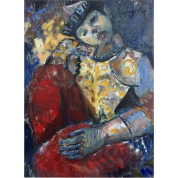 Krys Robertson: Kniender. Oil on gesso paper. 2015