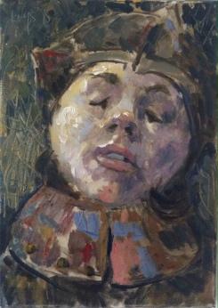 Krys Robertson: Knight/jester portrait. 2015. Oil on canvas