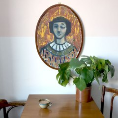 Krys Robertson: One eyed, 2016. original oil painting on cardboard in vintage wooden frame