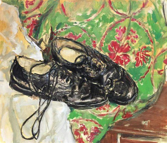 Scottish kilt shoes. Oil on gesso paper. 2018... still WIP