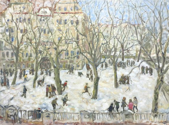 Krys Robertson. Schoolyard in Winter (Schulhof im Winter). 2018. Oil on canvas. 60x80cm.