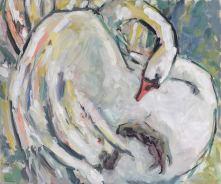 Krys Robertson: Swan II, Oil on gesso paper