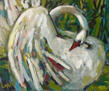 Swan III, Oil on canvas