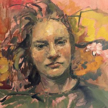 Self-portrait 2018. Oil on paper