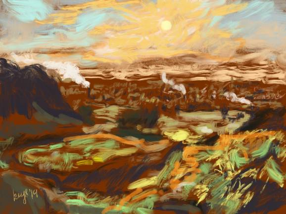 Edinburgh, Arthur's Seat on an Early Winter Morning. Digital painting. 2019