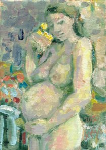 Krys Robertson. Pregnant Nude. Oil on Canvas, 2020