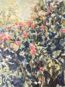 Krys Robertson. Rose Bush. Oil on Canvas, 2018-2020